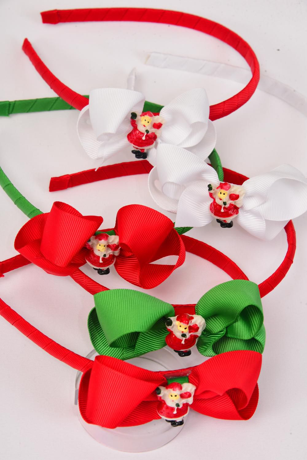 "Headband Horseshoe Xmas Grosgrain Fabric Bow-tie Santa Charm/DZ Bow Size-3""x 2"" wide,2 of each Color Asst,Hang Tag & UPC Code,W Clear Box -"