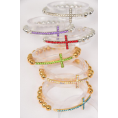 "Bracelet Color Rhinestone Cross 8 mm Beads Stretch/DZ **Stretch** Cross-1.75""x 0.5"" wide,6 Gold & 6 Silver & 2 of each Color Asst,hang Tag & OPP bag & UPC Code"
