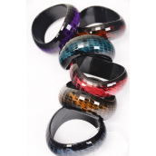 "Bangle Acrylic Art Look Dark Color Asst/DZ Size- 2.75"" x 1.25"",2 of each Color Asst,Hang Tag & OPP Bag & UPC Code"