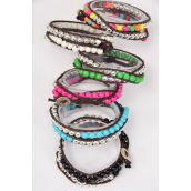 Bracelet 2 Tone Wrap 6 mm Hand Beaded Multi/DZ **Multi** 2 of each Color Asst,Hang Tag & OPP Bag & UPC Code