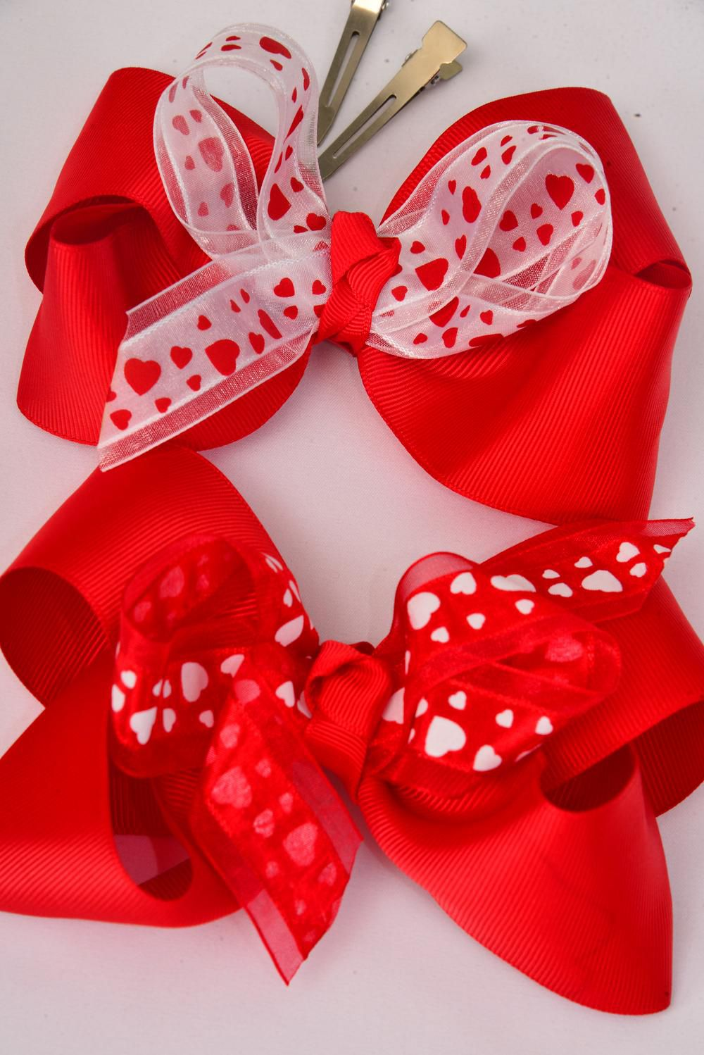 "Hair Bow Extra Jumbo Red Hearts 6""x 5"" Alligator Clip Grosgrain Bow-tie Satin Heart Print/DZ **Alligator Clip** Size-6""x 5"" Wide,6 of each Color Asst,Clear Strip & UPC Code"