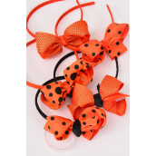 "Headband Horseshoe Halloween Grosgrain Polka Dots Bow-tie/DZ Bow Size-3""x 2"" Wide,3 of each Color mix,Hang tag & UPC Code,W Clear Box -"