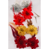 "Flowers 24 Pecs Alligator Clip Glitter Flower W Feathers/DZ Flower Size-2.75"",3 of each Color Asst,Display Card & UPC Code,Clear Box,each card has 2 pecs,12 Card=Dozen"