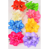 "Silk Flower Elastic & Brooch & Alligator Clip Aloha/DZ **Citrus** 3 in 1,Size-3.5"" Wide,Alligator Clip & Brooch & Elastic Pony,8 Color Asst,Display Card & UPC Code,W Clear Box"