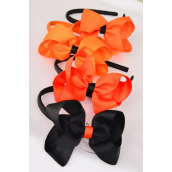 "Headband Horseshoe Halloween 3""x 2"" Grosgrain Bow-tie/DZ Bow Size-3""x 2"" Wide,3 of each color Mix,Hang Tag & UPC Code,W Clear Box -"