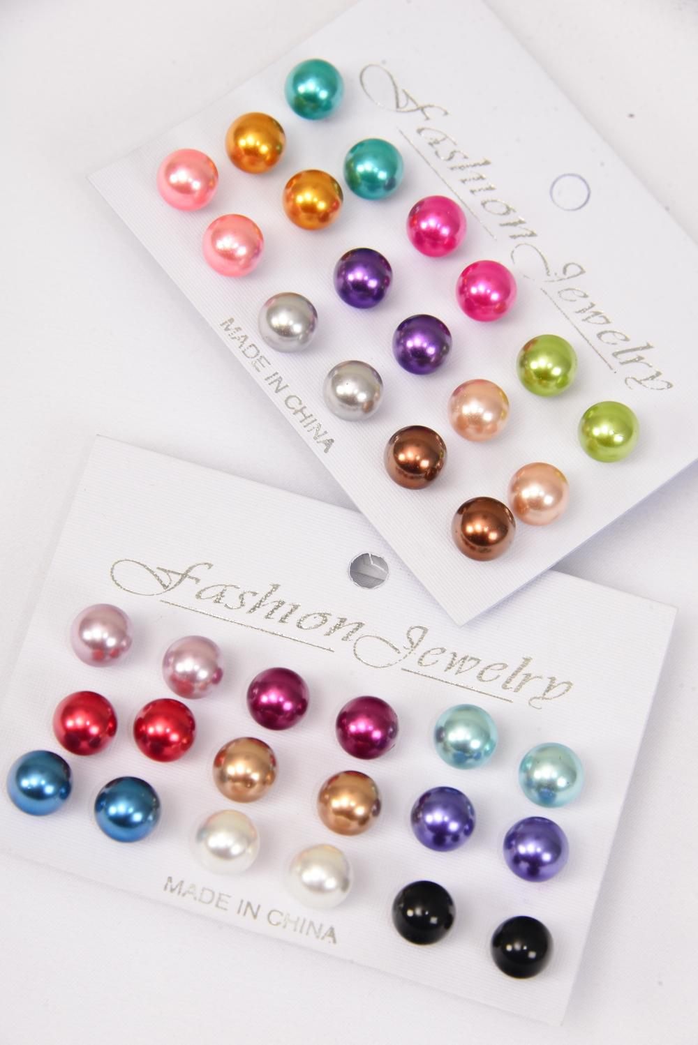 Earrings 9 PAIR 10 mm ABS Pearl Multi Color Asst/DZ **Post** Pre Color Asst ,each Card has 9 pair per Earrings,12 card=Dozen,Earring card & Opp bag & UPC Code -