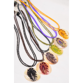 "Necklace Sets Seashell Pendant Leaf Print/DZ Size-18"" Long,Pendant-2"",2 of each Color Mix,Hang Tag & OPP bag & UPC Code"