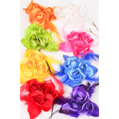 "Silk Flower 3 Roses Feathers Multi Alligator Clip/DZ **Multi** Size-5.5"",Alligator Clip & Brooch,2 White,2 Orange,2 Fuchsia,2 Purple,1 Lime,1 Blue,1 Yellow,1 Red Mix,Display Card & UPC Code,Clear Box"