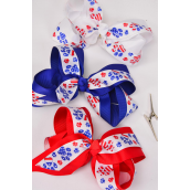 "Hair Bow Jumbo Patriotic Paw Print Extra Jumbo Alligator Clip Double Layer Grosgrain Bowtie/DZ ** Alligator Clip** Bow-6""x 5"" Wide,4 White,4 Red,4 Blue,3 Color Mix,Clip Strip & UPC Code"