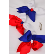 """Hair Bow Extra Jumbo Cheer Type Bow Grosgrain Bowtie Red White Blue Mix/DZ **Alligator Clip** Bow-7""""x 6"""" Wide,6 Multi,3 Red & White,3 Blue & White Mix,Clip Strip & UPC Code"""