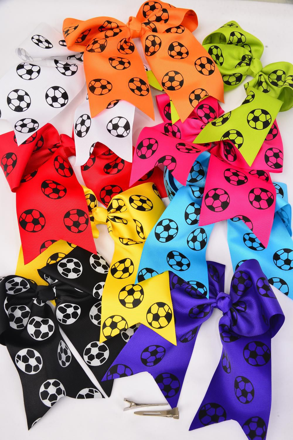 "Hair Bow Soccer Ball Print Extra Jumbo Long Tail Alligator Clip Grosgrain Bow-tie Multi/DZ **Multi** Alligator Clip,Size-6.5""x 6"" Wide,2 White,2 Yellow,2 Blue,2 Fuchsia,2 Purple,1 Orange,1 Limr,7 Color Asst,Clear Strip & UPC Code"
