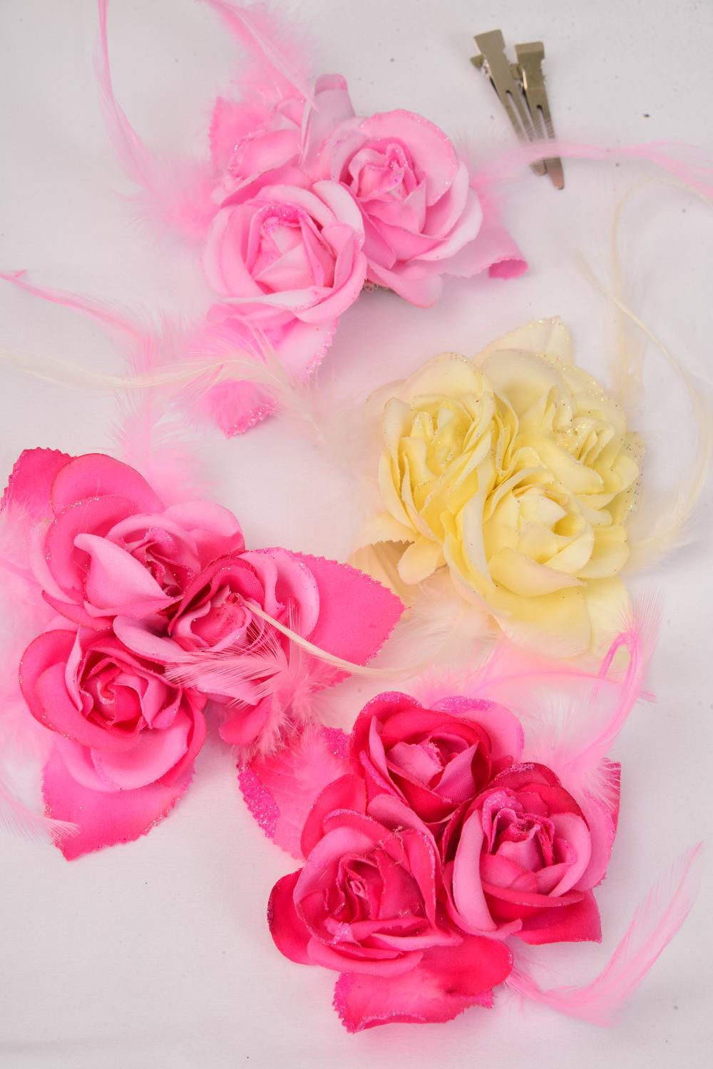 "Silk Flower 3 Roses Feathers Pink Mix Alligator Clip/DZ **Pink Mix** Size-5"" Wide,Alligator Clip & Brooch,3 of each Color Mix,Display Card & UPC Code,W Clear Box -"
