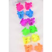 "Jaw Clip Mini Acrylic Butterfly Neon Color Asst/DZ Size-1""x0.75"" Wide,2 of each Color Asst,12 on Display Card & OPP bag & UPC Code -"