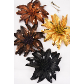 "Sequin Flower Large Brown tone Alligator Clip & Brooch & Elastic Pony/DZ **Brown Tone Mix** Flower Size-6"",Alligator Clip & Elastic Pony & Brooch,3 of each Color Asst,Display Card & UPC Code,W Clear Box"