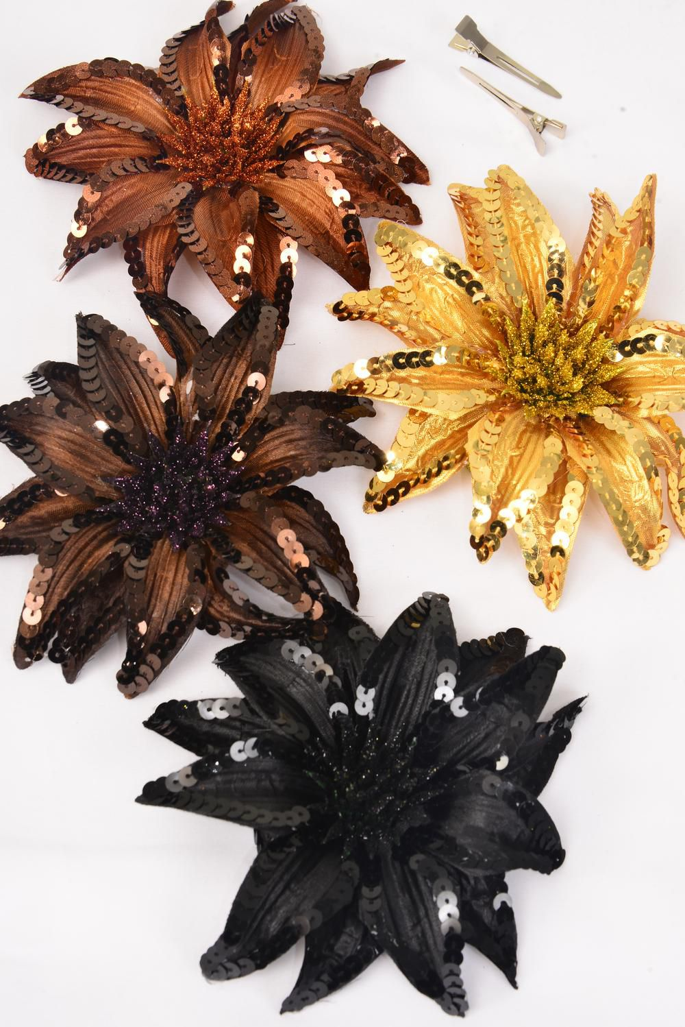 "Flower Sequin Large Browntone Alligator Clip & Brooch & Elastic Pony/DZ **Brown Tone Mix** Flower Size-6"",Alligator Clip & Elastic Pony & Brooch,3 of each Color Asst,Display Card & UPC Code,W Clear Box"