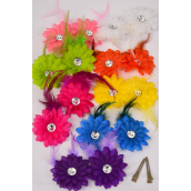 "Flowers 24 pcs Alligator Clip Feather Daisy Flowers/DZ **Multi** Flower Size-2.75"",2 Fuchsia,2 White,2 Yellow,2 Orange,1 Pink,1 Blue,1 Purple,1 Lime,8 Color Asst,Display Card & UPC Code,W Clear Box"