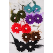 "Flowers 24 pcs Alligator Clip Feather With Daisy Flowers Dark Multi/DZ **Dark Multi** Flower-2.75"",2 Black,2 Blue,2 White,2 Purple,2 Red,1 Brown,1 Olive,7 Color Asst,Display Card & UPC Code,W Clear Box"