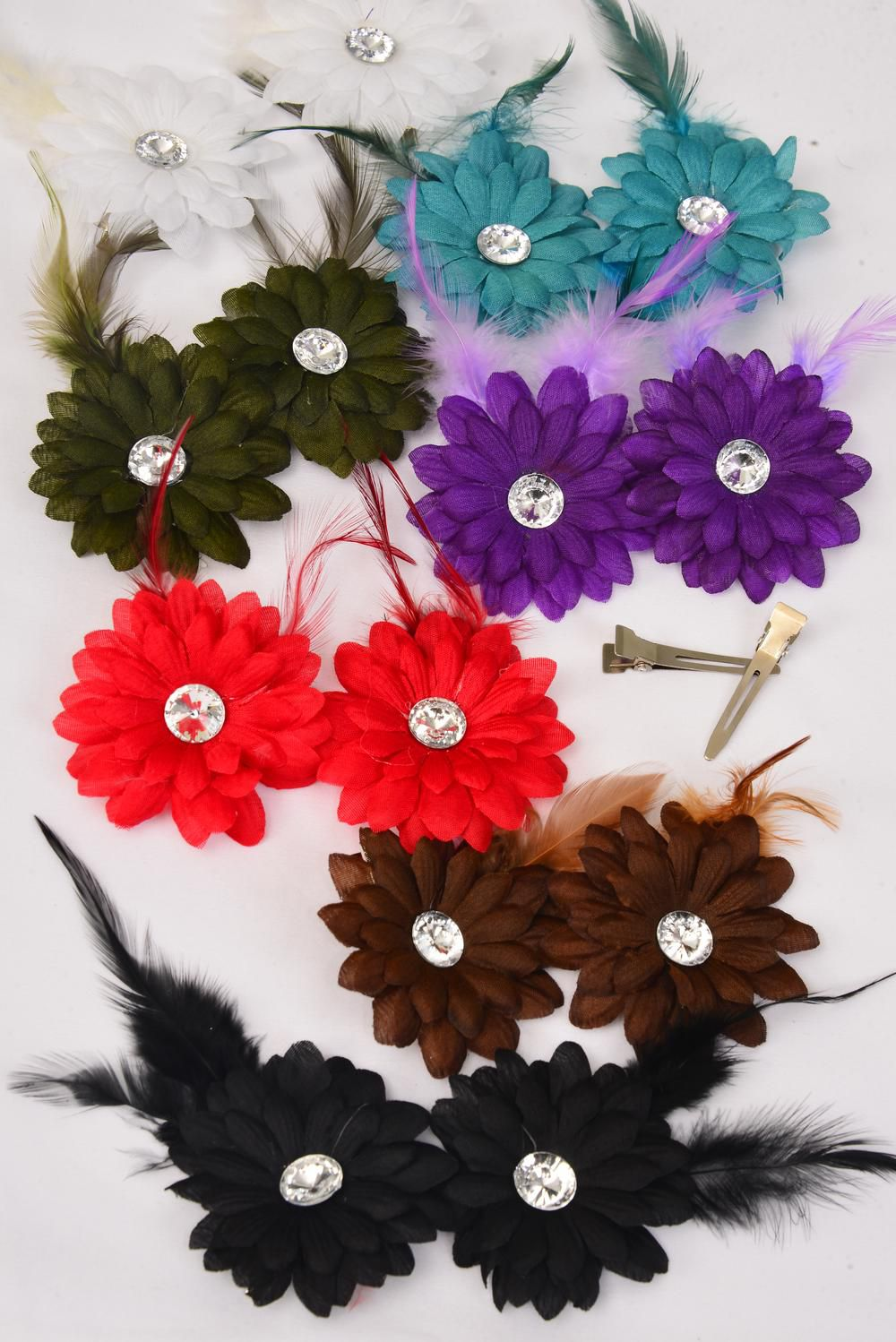 Flowers 24 pcs Alligator Clip Feather With Daisy Flowers Dark Multi ...