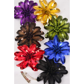 "Hair Bow Sequin Flower Dark Multi French Clip/DZ **Dark Multi** French Clip,Flower-4.5"" Wide,2 Black,2 Red,2 Purple,2 Royal Blue,1 Gold,1 Brown,1 Olive,1 Navy,8 Color Asst,Display Card & UPC Code"