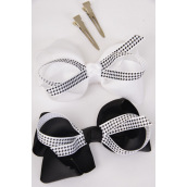 "Hair Bow Jumbo Houndtooth Double Layered Grosgrain Bow-tie Black white Mix/DZ **Alligator Clip** Size-6""x 5"" Wide,6 Black & 6 White Mix,Clip Strip & UPC Code"