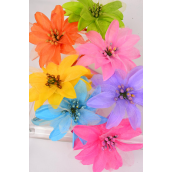 "Headband Horseshoe Satin Large Silk Flower/DZ Flower-4.5"" Wide,2 Pink,2 Blue,2 Orange,2 Yellow,2 Lime,1 Purple,1 Fuchsia Mix, Hang Tag & UPC Cod,Clear Box"