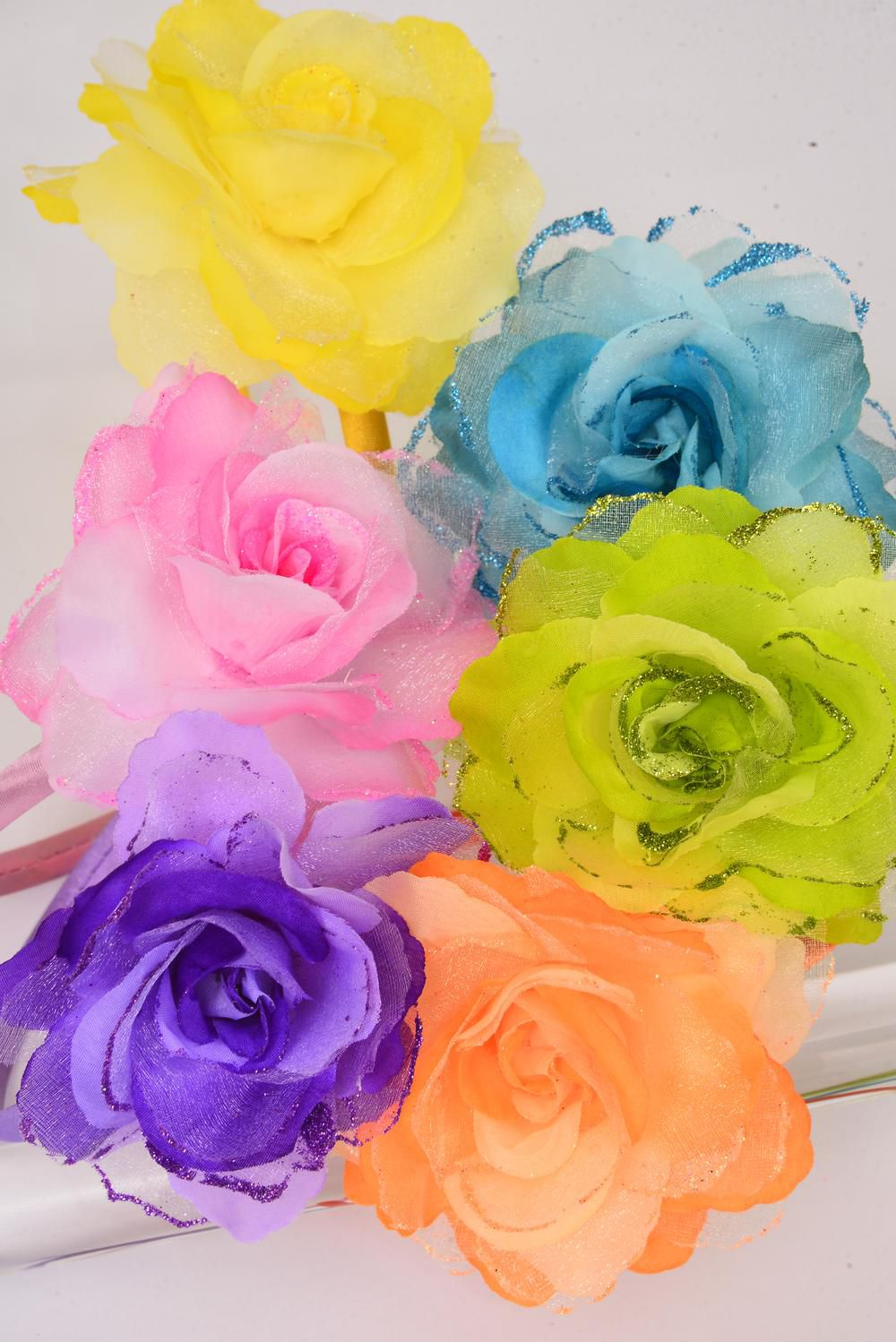 "Headband Horseshoe Satin 2 tone Rose Glitters/DZ Rose-4.5"",Color-2 Pink,2 Blue,2 Yellow,2 Purple,2 Orange,2 Lime,6 Color Asst,Hang Tag & UPC Code,W Clear Box"