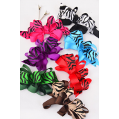 "Hair Bow Large Loop Bow Zebra Print Grosgrain Bow-tie/DZ **Multi** Alligator Clip,Bow Size-5"" x 4"" Wide,2 Black,2 Red,2 Fuchsia,2 Brown,2 Blue,1 Green,1 Purple,7 Color Asst,Clip Strip & UPC Code"
