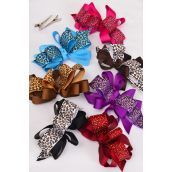 "Hair Bow Large Loop Bow Leopard Print Grosgrain Bow-tie/DZ **Alligator Clip** Bow Size-4""x 3"" Wide,2 Black,2 Burgundy,2 Light Brown,2 Brown,2 Purple,1 Fuchsia,1 Blue,7 Color Mix,Clip Strip & UPC Code"
