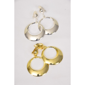 "Earrings Metal Round Dangle Clip On/DZ **Clip On** Size-1.75"" Wide,Earring Card & Opp Bag & UPC Code, Choose Gold Or Silver Finishes"