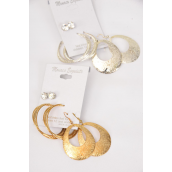 "Earrings 3 Pair Mix Shape Design Gold & Silver Mix/DZ **Post** Size-Loop-1.5"",Tear drop-1.75""x 1.5"" Wide,6 Gold & 6 Silver Mix,Earring Card & Opp Bag & UPC Code,3 pair per card,12 card=Dozen"