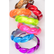 "Bangle Acrylic Cate eye Woven Multi/DZ Size-2.75""x 1"",Color-2 Red,2 Blue,2 Purple,2 Brown,2 Fuchsia,1 Orange,1 Lime,7 Color Asst,Hang Tag & Opp Bag & UPC Code"