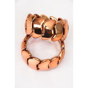 "Bracelet Poly Art Shape Copper Shiny Face Stretch/DZ **Copper** Stretch,Width 1.5"",Hang Tag & OPP Bag & UPC Code"