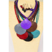 "Necklace Sets Real Seashell Pendant Dark Multi/DZ **Dark Multi** 18"" Long,Pendant Size-2.5"" x 2.5"" Wide,2 Black,2 Brown,2 Gray,2 Purple,2 Burgundy,1 Green,1 Navy Mix,Hang Tag & OPP Bag & UPC Code"