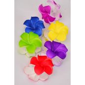 "Jaw Clip Flower Large Aloha Multi/DZ **Multi** Flower Size-3"",2 of each Color Asst,Hang Tag & UPC Code,Clear Box"