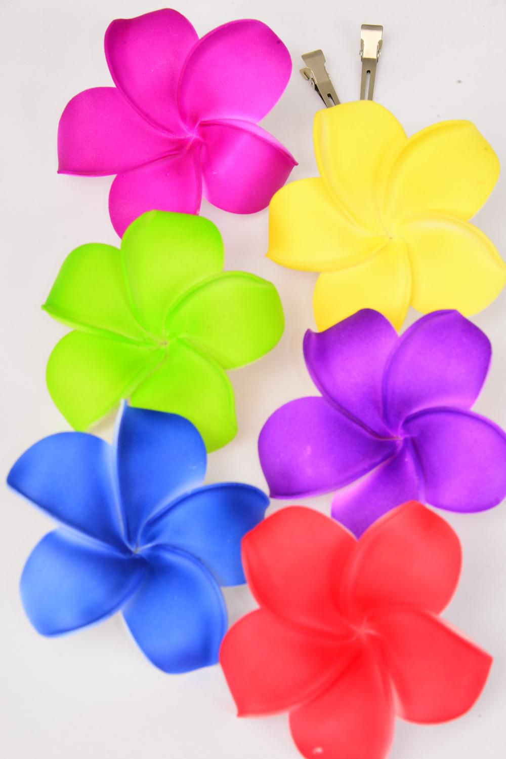 "Flower Large Aloha Multi Alligator Clip/DZ **Alligator Clip** Flower-3.5"" Wide,2 of each Color Asst,Display Card & UPC Code,W Clear Box"