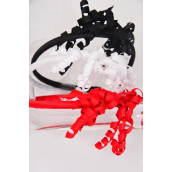 Headband for Kids Grosgrain Twirls Red White Black Mix/DZ Color-4 Red,4 White,4 Black,3 Color Mix,Hang tag & UPC Code,W Clear Box