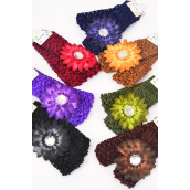 "Ballerina Head band 24 pecs 2tone Gerber Daisy Flower Dark Multi/DZ **Dark Multi** Stretch,Ballerina-1.5"" Wide,Flower-3"" wide,2 Black,2 Brown,2 Purple,2 Burgundy,2 Navy,1 Camel,1 Olive mix,2 pecs per Card,12 card=DZ"