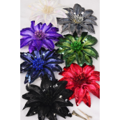 "Sequin Flower Jumbo Dark Multi Alligator Clip & Brooch Mix/DZ **Dark Multi** Size-6"",Alligator Clip & Brooch Mix,2 Black,2 Navy,2 Burgundy,2 Hunter Green,2 Purple Mix,1 Gray,1 White Mix,Display Card & UPC Code"