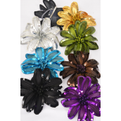 "Sequin Flower Large Dark Multi Alligator Clip & Brooch & Elastic Pony/DZ **Dark Multi** Size-6"" Wide,Alligator Clip & Elastic Pony & Brooch,8 Color Asst,Display Card & UPC Code,W Clear Box"