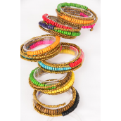 Bangle Flexible Multi Indian Beads & Coconut shell Mix Wrap Around/DZ **Wrap Around** 2 of each Color Asst,Hang Tag & OPP Bag & UPC Code