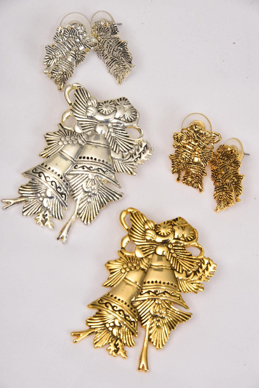 "Xmas Pin or Pendant Sets Bells/Sets Size-Pendant 2""x 1.5"", Earring 1""x 0.65"" Wide,Display Card & OPP Bag & UPC code,Choose Gold or Silver Finish,Also Use For Pendant"