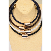 "Necklace Sets Woven Choker Gold Oblong Pendant/DZ **Flexible**  Size-16"",5 Black,3 White,2 Navy,2 Brown Color Asst,Hang Tag & OPP Bag & UPC Code"