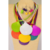 "Necklace Sets Multi Real Seashell Pendant Indian Beads/DZ **Multi** 18"" Long,Pendant Size-2.5"" x 2.5"",2 White,2 Teal,2 Fuchsia,2 Purple,2 Yellow,1 Orange,1 Lime,7 Color Mix,Hang Tag & OPP Bag & UPC Code"