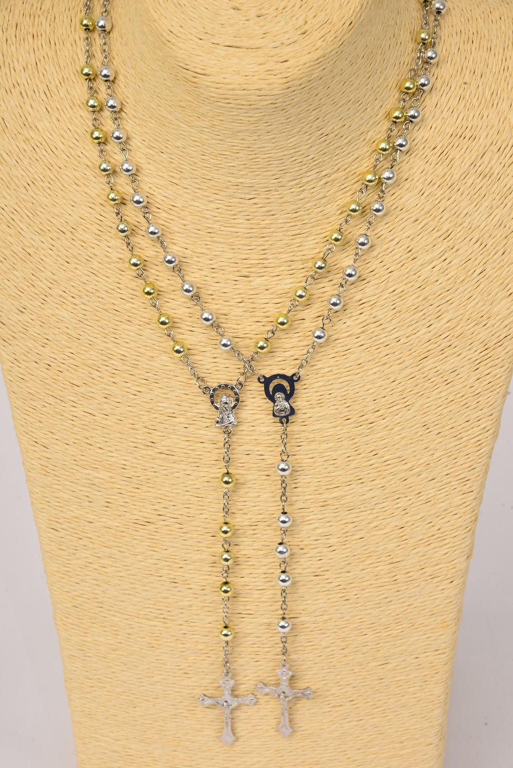 "Necklace 6 mm Prayer Beads Gold & silver Mix/DZ 32"" Long,6 Gold & 6 Silver Mix,Hang tag & Opp Bag & UPC Code"