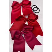 "Hair Bow Extra Jumbo Long Tail Elastic Burgundy Grosgrain Mix Bow-tie/DZ **Burgundy Mix** Elastic,Size-6.5""x 6"" Wide,4 of each Color Asst,Clip Strip & UPC Code"