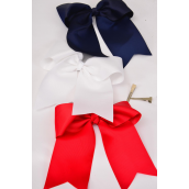 "Hair Bow Extra Jumbo Long Tail Cheer Type Bow Red White Navy Mix Alligator Clip Grosgrain Bow-tie/DZ **Alligator Clip** Size-7""x 6"" Wide,4 Red,4 White,4 Navy,3 Color Asst,Clip Strip & UPC Code"