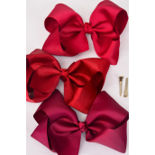 "Hair Bow Cheer Type Bow Burgundy Alligator Clip Grosgrain Fabric Bow-tie/DZ **Burgundy Mix** Size-8""x 7"" Wide,Gray Alligator Clip,4 of each Color Asst,Clip Strip & UPC Code"