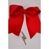 "Hair Bow Extra Jumbo Long Tail Crimson Red Alligator Clip Grosgrain Bow-tie/DZ **Crimson Red** Alligator Clip,Size-6""x 6.5"" Wide,Clip Strip & UPC Code"