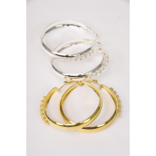 "Earrings Metal Hoop Clear Rhinestones/DZ **Post** Size-2"" Wide,Earring Card & OPP Bag & UPC Code,Choose Gold Or Silver Finishes"
