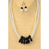 "Necklace Sets 2 Strands Glass Pearls Black Glass Crystals/Sets **Black** Size-18"" Extension Chain,Hang tag & Opp Bag & UPC Code"
